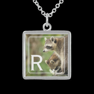 Monogram Friends & Blessings Raccoons Pesonalized Sterling Silver Necklace
