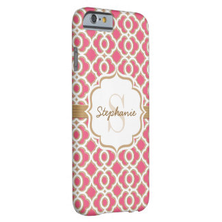 Monogram Fuchsia and Gold Quatrefoil Barely There iPhone 6 Case