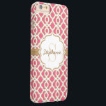 "Monogram Fuchsia and Gold Quatrefoil Barely There iPhone 6 Plus Case<br><div class=""desc"">Add your monogram and name to the bracket shaped label printed ribbon look design on the hot pink and gold quatrefoil pattern. This exotic Moroccan style inspired pattern in fuchsia, white and gold is perfect for the woman with a preppy and modern style. Artwork &#169; Chrissy H. Studios, LLC. All...</div>"