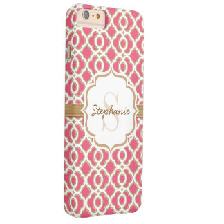 Monogram Fuchsia and Gold Quatrefoil Barely There iPhone 6 Plus Case