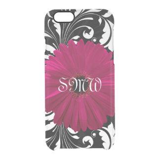 Monogram Fuchsia Gerbera Daisy Pretty Black Swirl Clear iPhone 6/6S Case