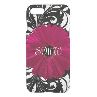 Monogram Fuchsia Gerbera Daisy Pretty Black Swirl iPhone 7 Case