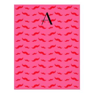 "Monogram fuchsia pink mustache pattern 8.5"" x 11"" flyer"