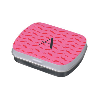 Monogram fuchsia pink mustache pattern jelly belly candy tin