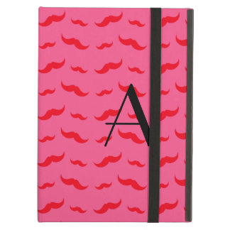 Monogram fuchsia pink mustache pattern case for iPad air
