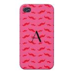 Monogram fuchsia pink mustache pattern iPhone 4 covers