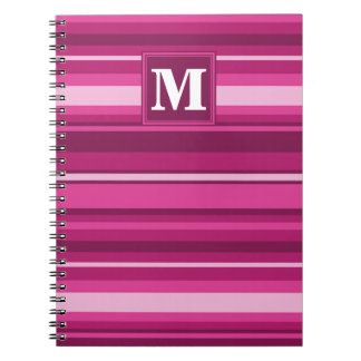 Monogram fuchsia stripes spiral notebook