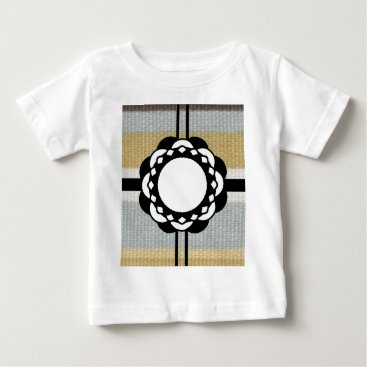 Beach Themed Monogram Funky Blue Cloth Pattern Baby T-Shirt