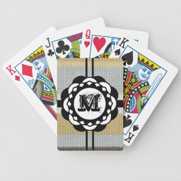 Beach Themed Monogram Funky Blue Cloth Pattern Bicycle Playing Cards