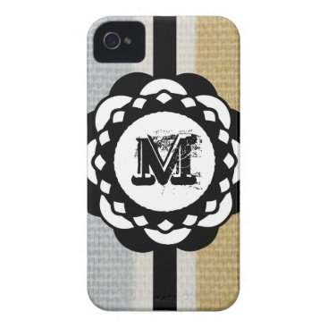 Beach Themed Monogram Funky Blue Cloth Pattern Case-Mate iPhone 4 Case