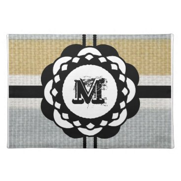 Beach Themed Monogram Funky Blue Cloth Pattern Cloth Placemat