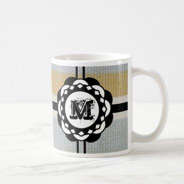 Beach Themed Monogram Funky Blue Cloth Pattern Coffee Mug
