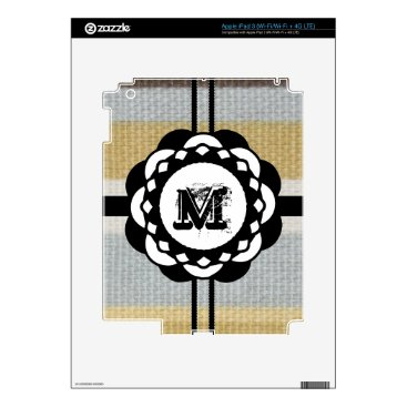 Beach Themed Monogram Funky Blue Cloth Pattern Decal For iPad 3