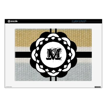 """Beach Themed Monogram Funky Blue Cloth Pattern Decals For 15"""" Laptops"""