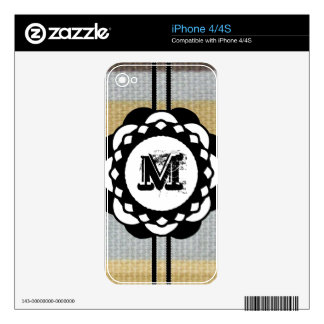 Monogram Funky Blue Cloth Pattern Decals For The iPhone 4S