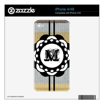 Beach Themed Monogram Funky Blue Cloth Pattern Decals For The iPhone 4S