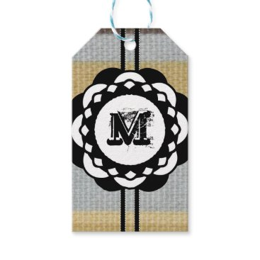 Beach Themed Monogram Funky Blue Cloth Pattern Gift Tags