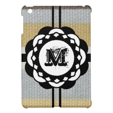 Beach Themed Monogram Funky Blue Cloth Pattern iPad Mini Covers