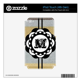 Monogram Funky Blue Cloth Pattern iPod Touch 4G Skins