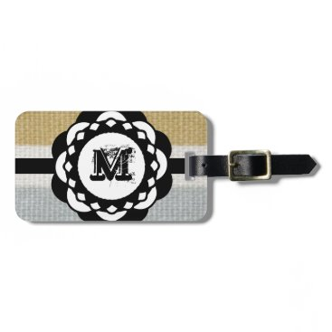 Beach Themed Monogram Funky Blue Cloth Pattern Luggage Tag