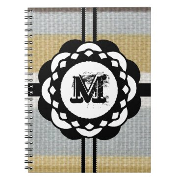 Beach Themed Monogram Funky Blue Cloth Pattern Notebook