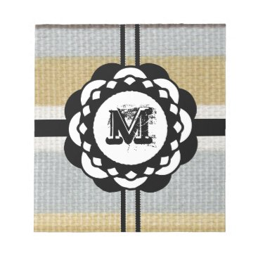 Beach Themed Monogram Funky Blue Cloth Pattern Notepad
