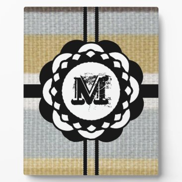 Beach Themed Monogram Funky Blue Cloth Pattern Plaque