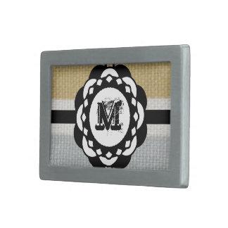 Monogram Funky Blue Cloth Pattern Rectangular Belt Buckle