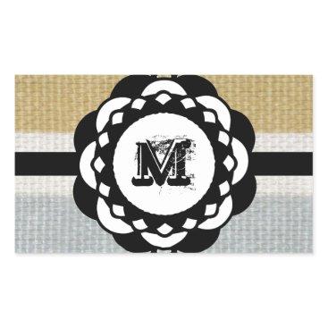 Beach Themed Monogram Funky Blue Cloth Pattern Rectangular Sticker