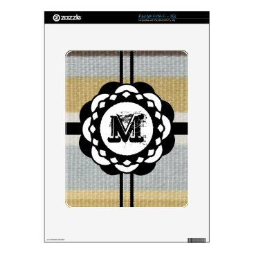 Beach Themed Monogram Funky Blue Cloth Pattern Skin For The iPad