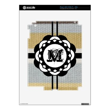 Beach Themed Monogram Funky Blue Cloth Pattern Skins For The iPad 2