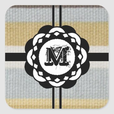 Beach Themed Monogram Funky Blue Cloth Pattern Square Sticker