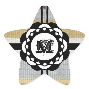 Beach Themed Monogram Funky Blue Cloth Pattern Star Sticker