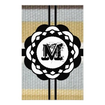 Beach Themed Monogram Funky Blue Cloth Pattern Stationery