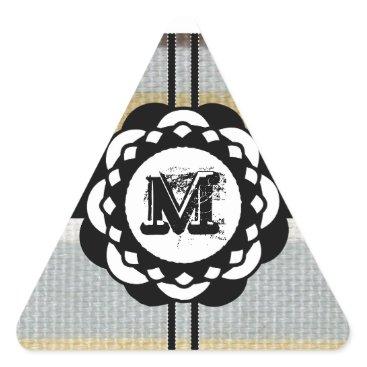 Beach Themed Monogram Funky Blue Cloth Pattern Triangle Sticker