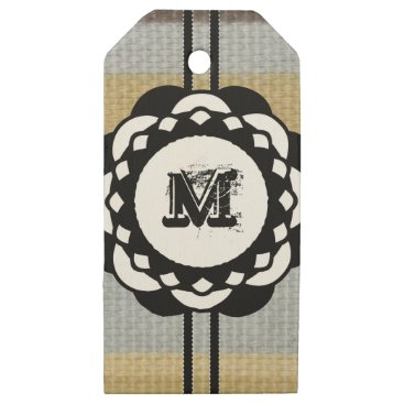 Beach Themed Monogram Funky Blue Cloth Pattern Wooden Gift Tags