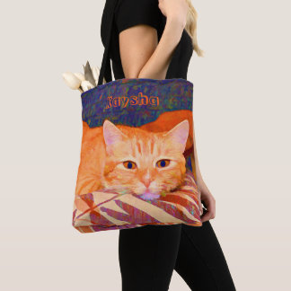 Monogram Funny Cute Bright Orange Tabby Cat Tote Bag