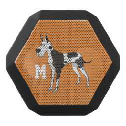 Monogram. Funny Cute Little Puppy Dog. Great Dane. Black Bluetooth Speaker