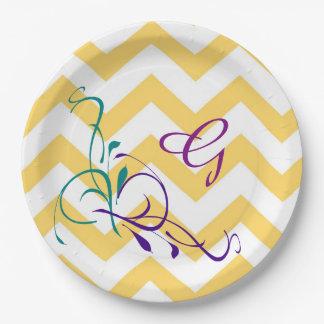 """Monogram """"G"""" Gold & White Chevron paper plates"""