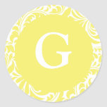 Monogram G Light Yellow Personalizable Invitation Classic Round Sticker