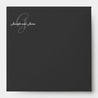 Monogram G Logo Black Wedding Invitation Envelope