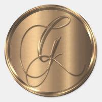 Monogram G NONMETALLIC Bronze Envelope Seal