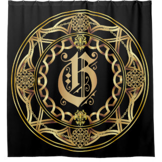 Monogram G Shower Curt Customize Change Back Color Shower Curtain