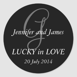 Monogram G Stickers for Weddings Black