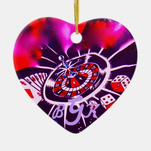 Monogram Gambling Icons Necklace Double-Sided Heart Ceramic Christmas Ornament
