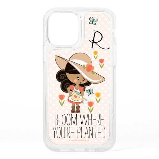 Monogram Garden Girl Dark Hair Skin Tone Speck iPhone 12 Pro Case