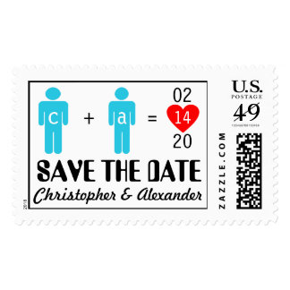 Monogram Gay Couple Save the Date Postage