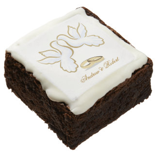 MONOGRAM GAY LOVE DOVE, RINGS WEDDING CAKE BROWNIE