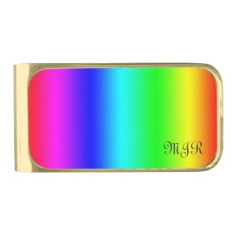 Monogram Gay Pride Rainbow Colors - Spectrum Gold Finish Money Clip