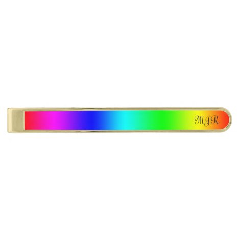 Monogram Gay Pride Rainbow Colors - Spectrum Gold Finish Tie Bar